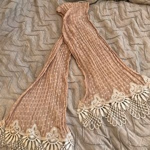 Tan scarf with crochet detailing